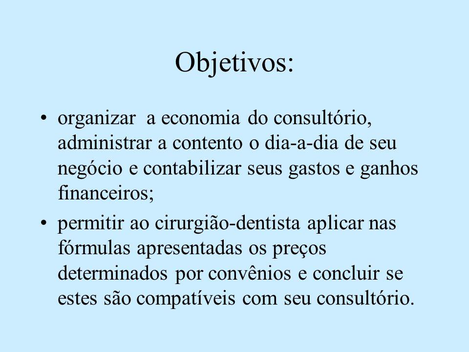 Objetivos: organizar a economia do consultório, administrar a contento o dia-a-dia de seu negócio e contabilizar seus gastos e ganhos financeiros;