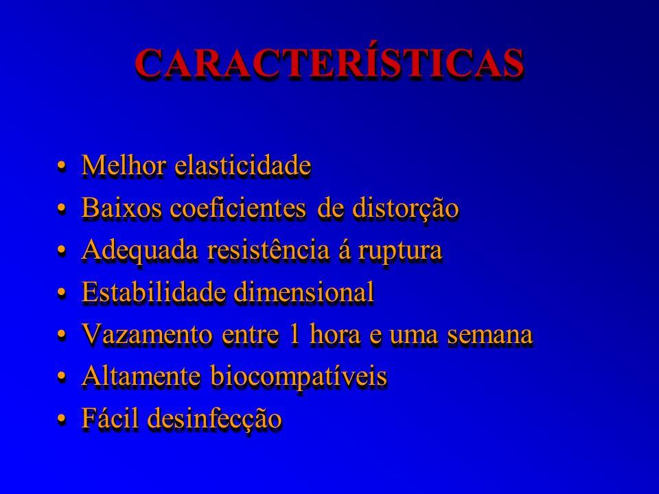 CARACTERÍSTICAS Melhor elasticidade Baixos coeficientes de distorção