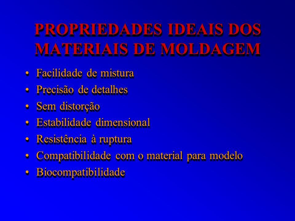 PROPRIEDADES IDEAIS DOS MATERIAIS DE MOLDAGEM