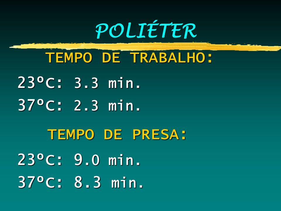 POLIÉTER TEMPO DE TRABALHO: 23ºC: 3.3 min. 37ºC: 2.3 min.
