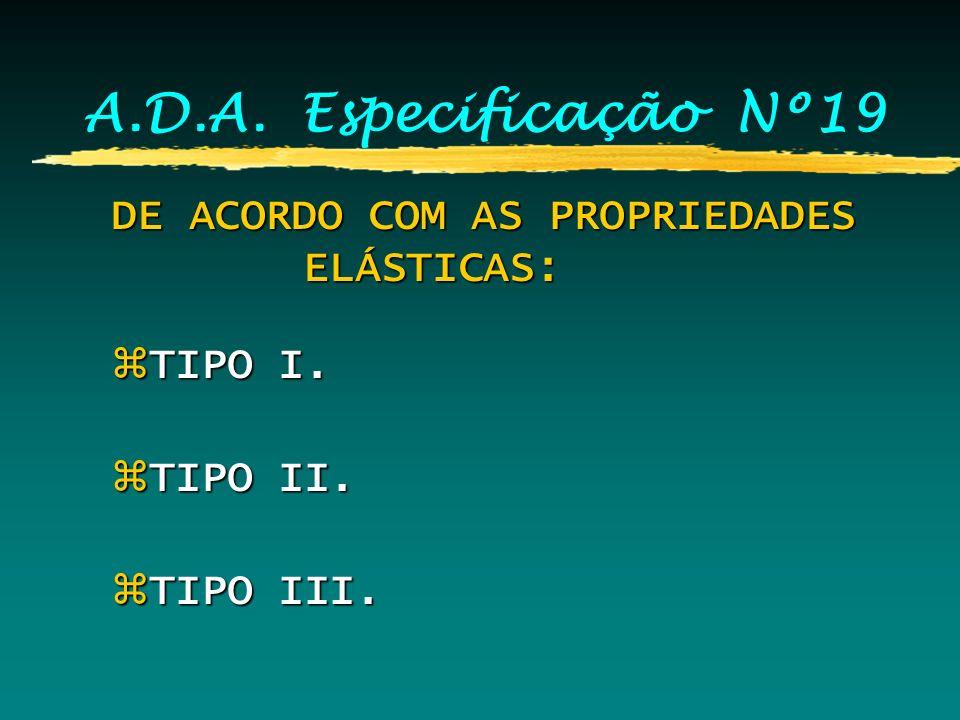 A.D.A. Especificação Nº19 DE ACORDO COM AS PROPRIEDADES ELÁSTICAS:
