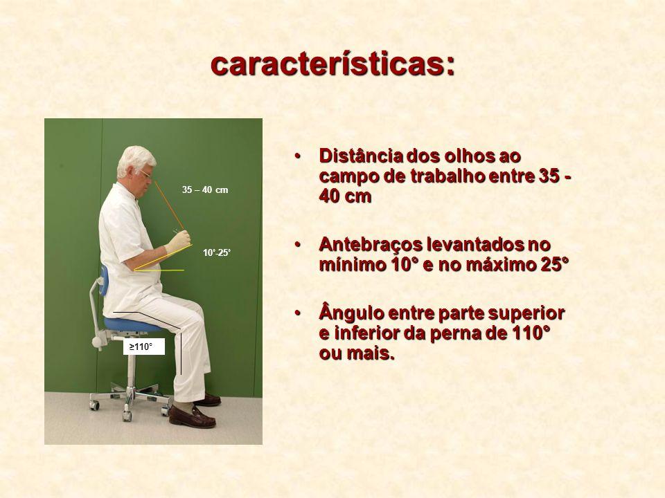 características: Distância dos olhos ao campo de trabalho entre 35 - 40 cm. Antebraços levantados no mínimo 10° e no máximo 25°