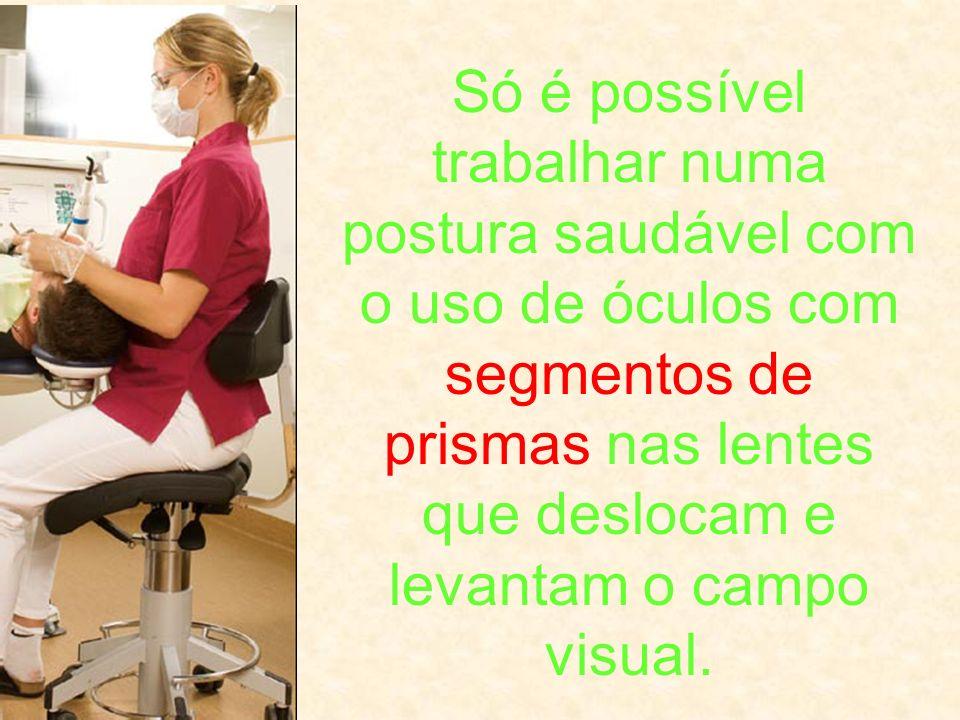 Só é possível trabalhar numa postura saudável com o uso de óculos com segmentos de prismas nas lentes que deslocam e levantam o campo visual.