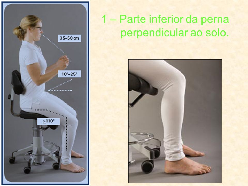 1 – Parte inferior da perna perpendicular ao solo.