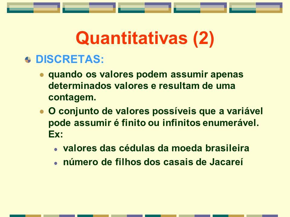 Quantitativas (2) DISCRETAS: