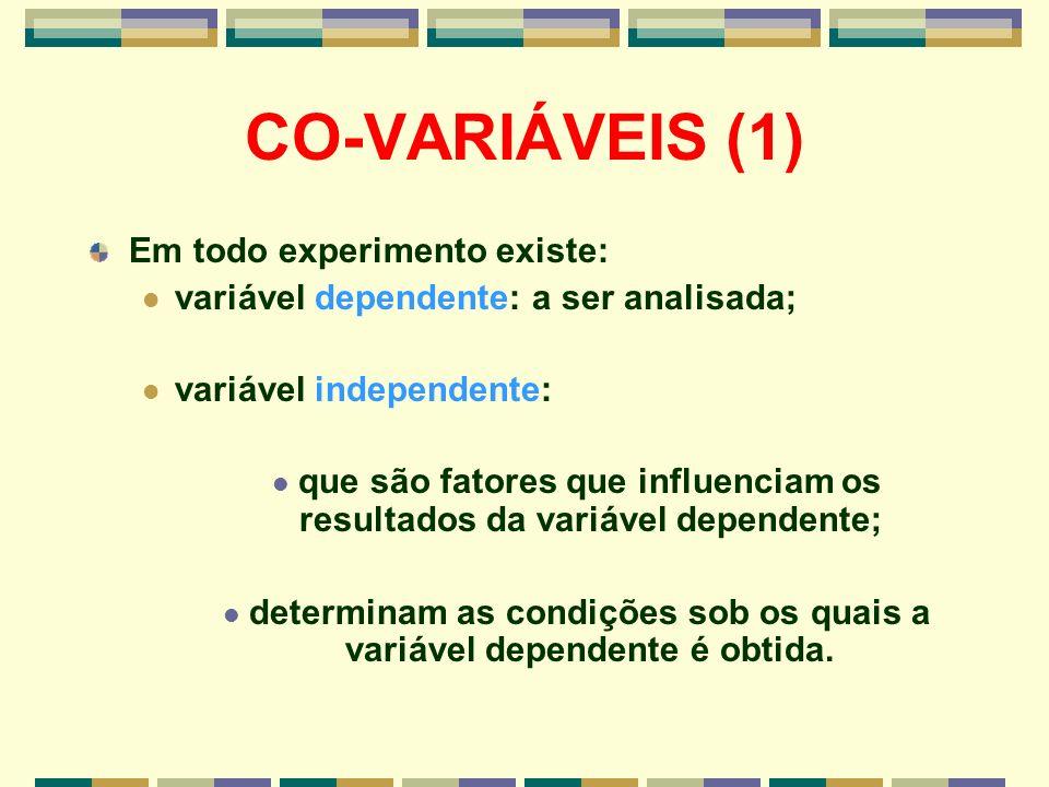 CO-VARIÁVEIS (1) Em todo experimento existe: