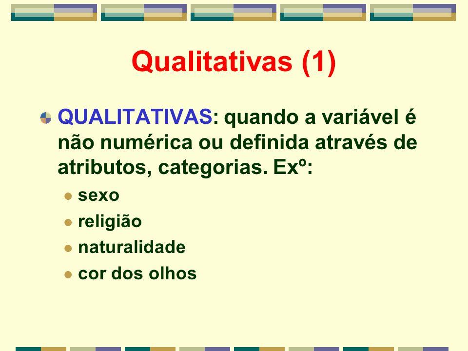 Qualitativas (1) QUALITATIVAS: quando a variável é não numérica ou definida através de atributos, categorias. Exº:
