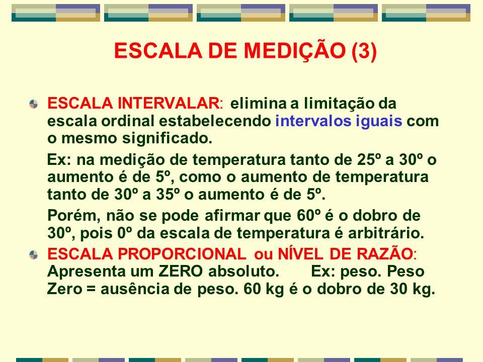 ESCALA DE MEDIÇÃO (3) ESCALA INTERVALAR: elimina a limitação da escala ordinal estabelecendo intervalos iguais com o mesmo significado.