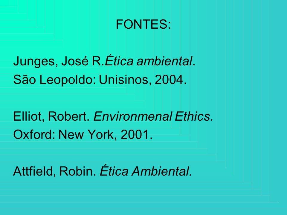 FONTES:Junges, José R.Ética ambiental. São Leopoldo: Unisinos, 2004. Elliot, Robert. Environmenal Ethics.