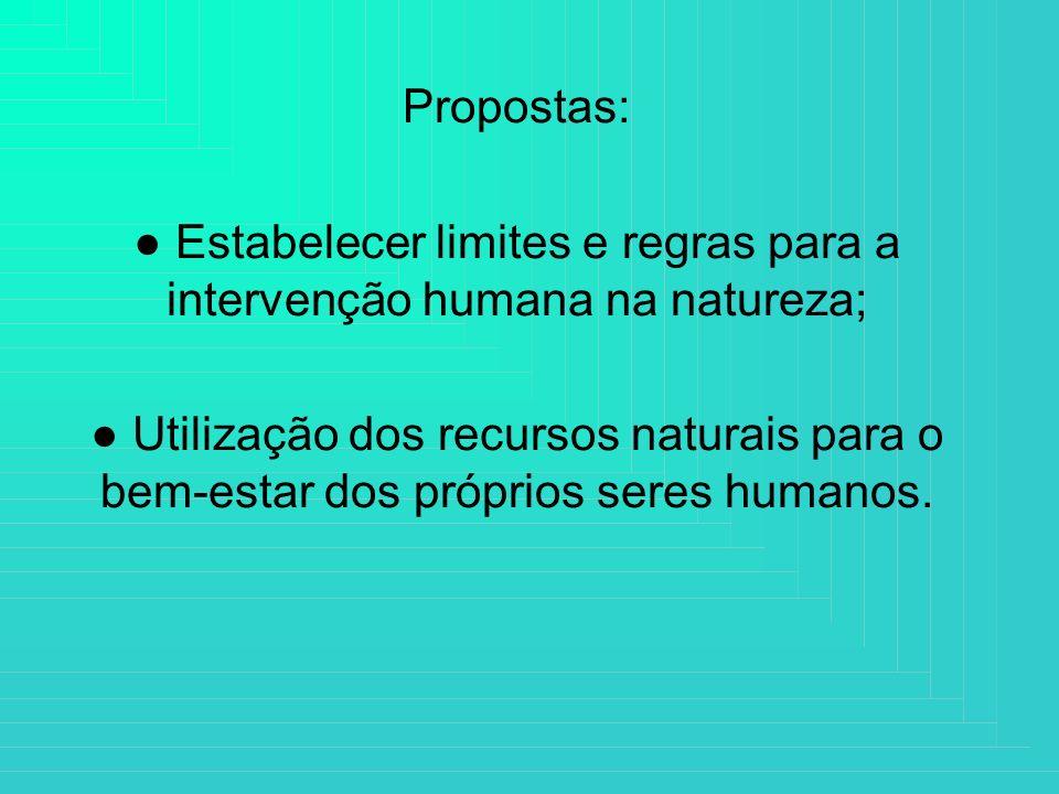 ● Estabelecer limites e regras para a intervenção humana na natureza;