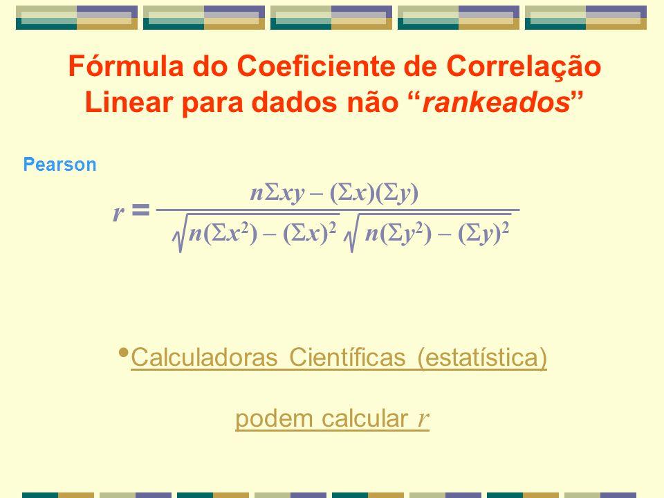 Fórmula do Coeficiente de Correlação Linear para dados não rankeados
