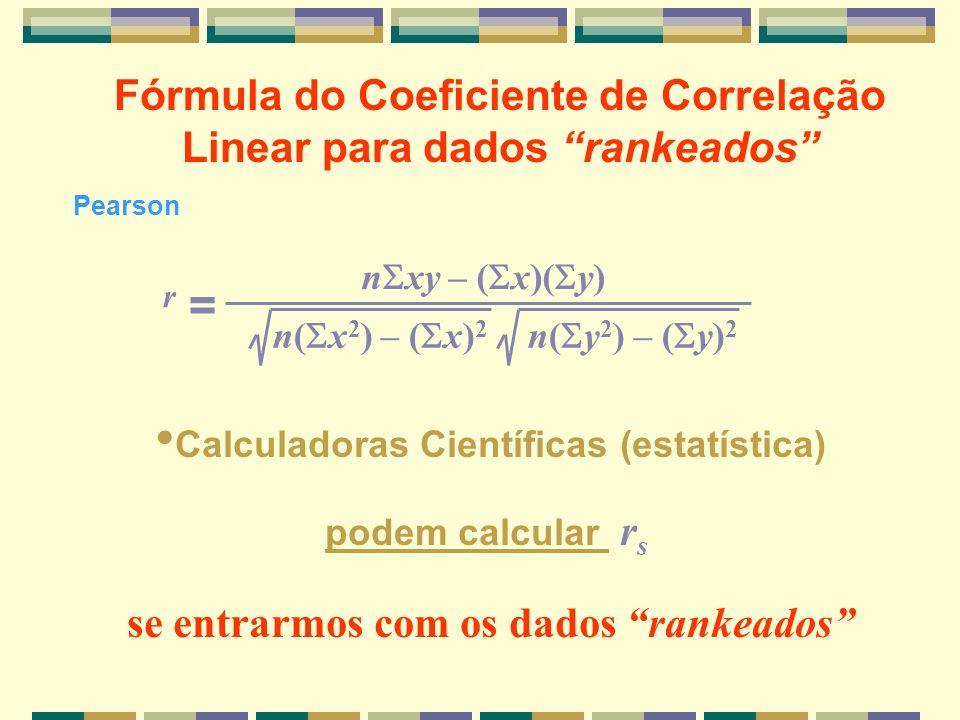 r = Fórmula do Coeficiente de Correlação Linear para dados rankeados