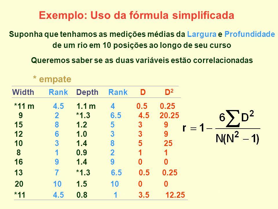 Exemplo: Uso da fórmula simplificada