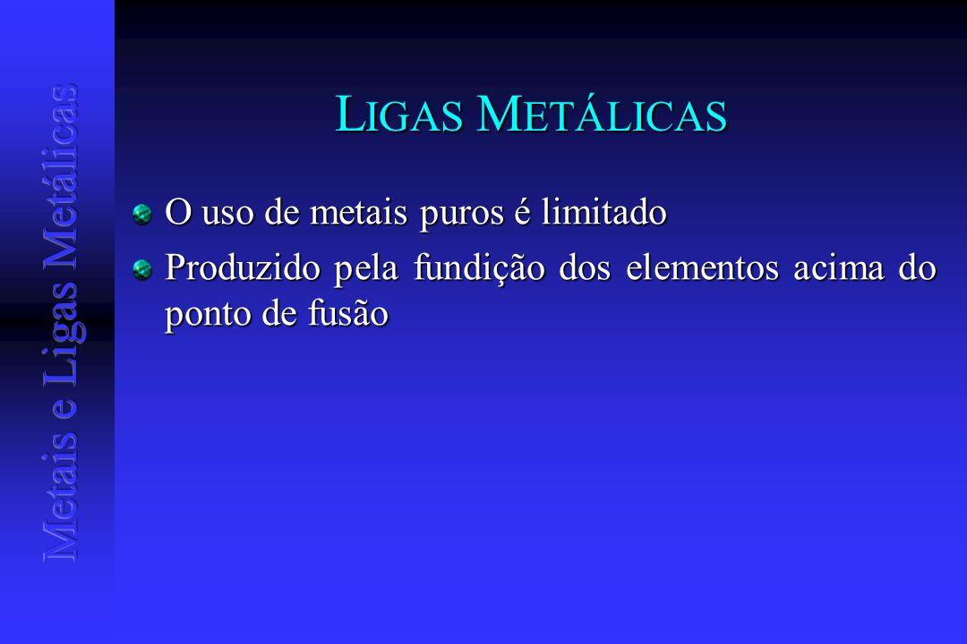 LIGAS METÁLICAS O uso de metais puros é limitado