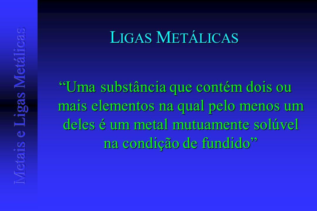 LIGAS METÁLICAS Uma substância que contém dois ou mais elementos na qual pelo menos um deles é um metal mutuamente solúvel na condição de fundido