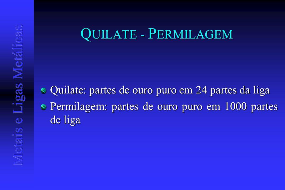 QUILATE - PERMILAGEM Quilate: partes de ouro puro em 24 partes da liga