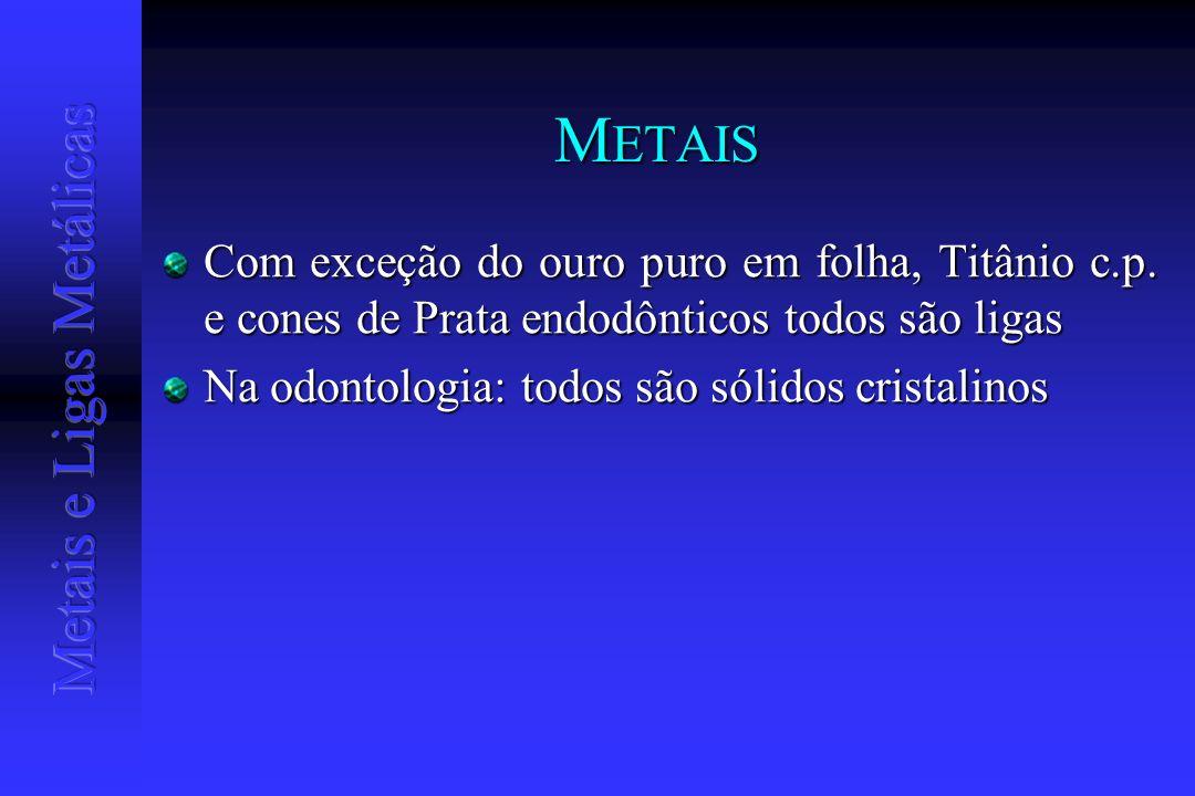 METAIS Com exceção do ouro puro em folha, Titânio c.p. e cones de Prata endodônticos todos são ligas.