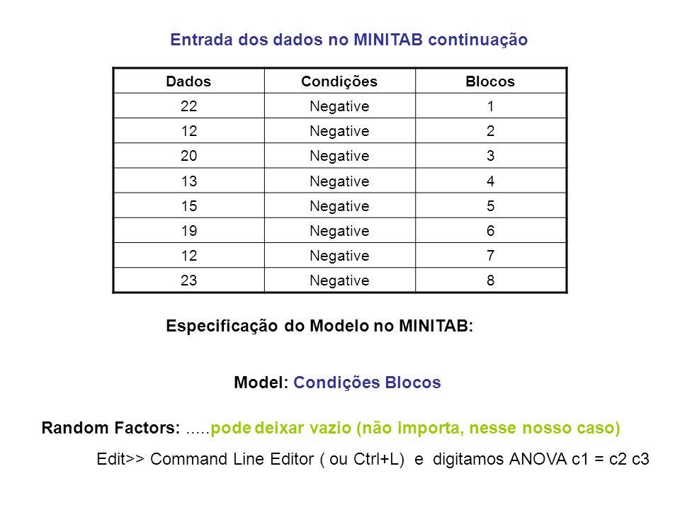 Entrada dos dados no MINITAB continuação
