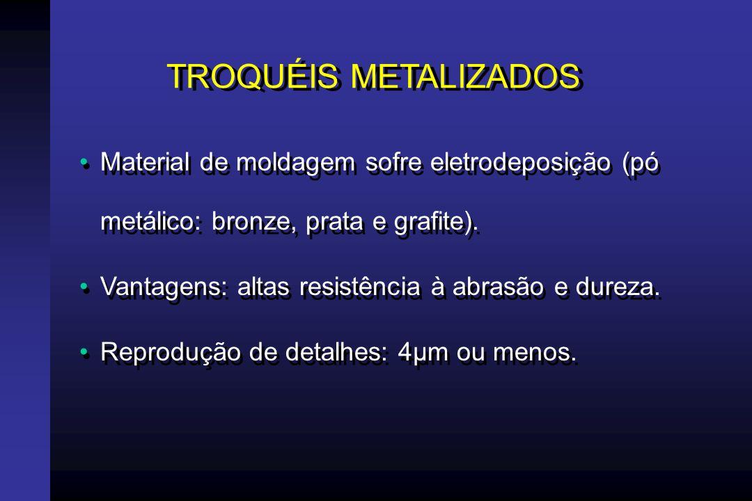 TROQUÉIS METALIZADOS Material de moldagem sofre eletrodeposição (pó metálico: bronze, prata e grafite).