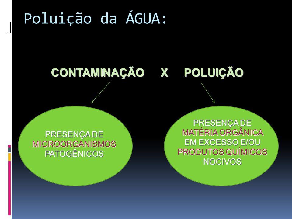 Poluição da ÁGUA: CONTAMINAÇÃO X POLUIÇÃO