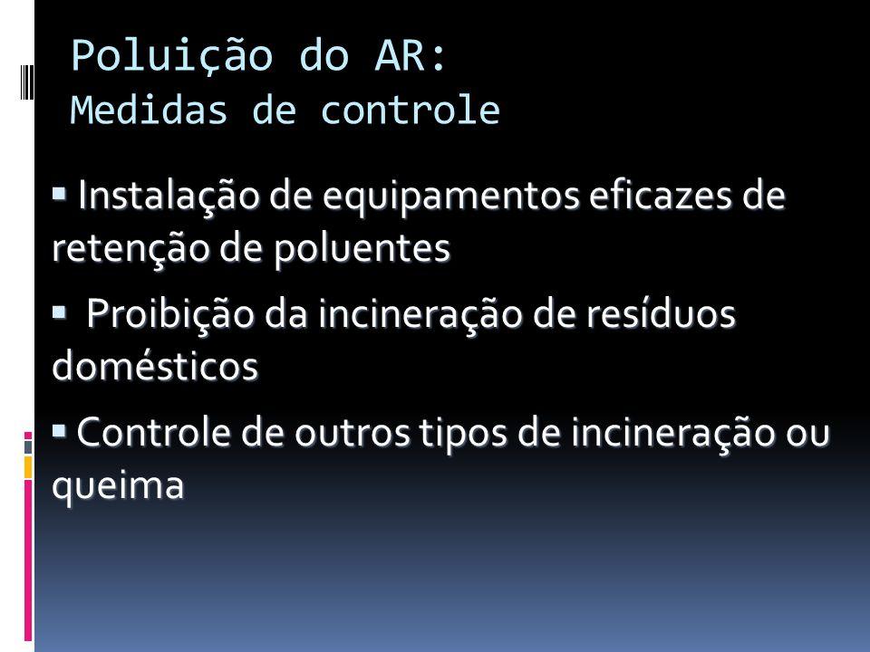 Poluição do AR: Medidas de controle
