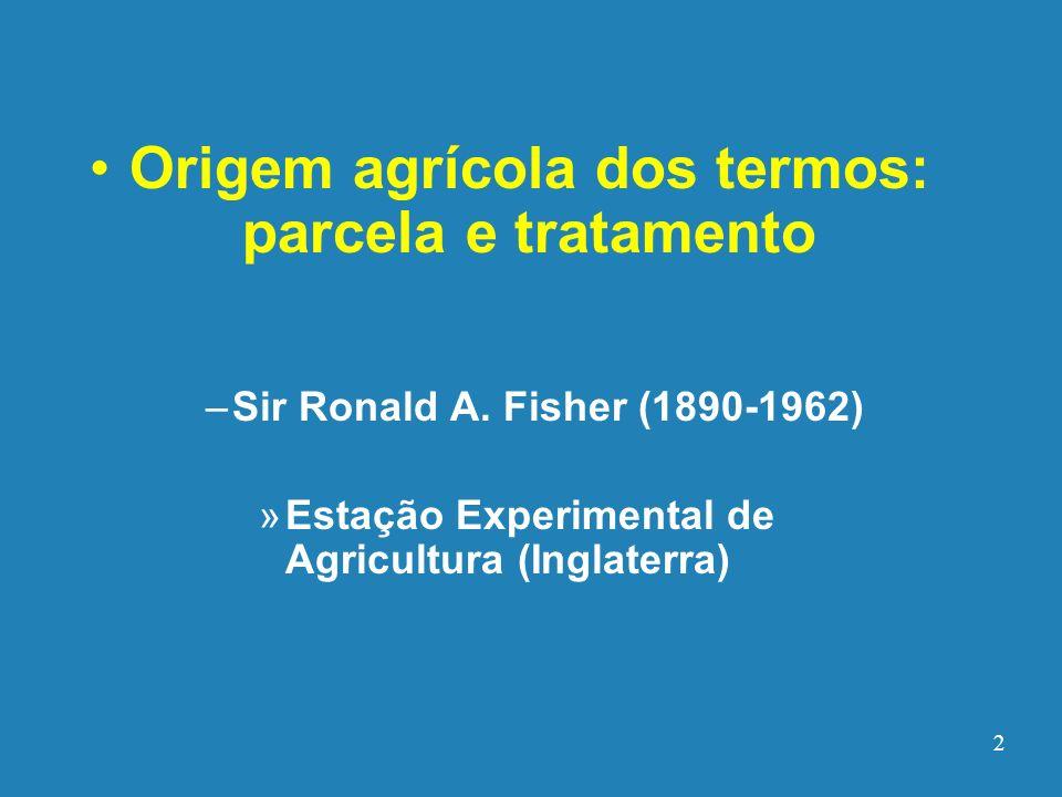 Origem agrícola dos termos: parcela e tratamento
