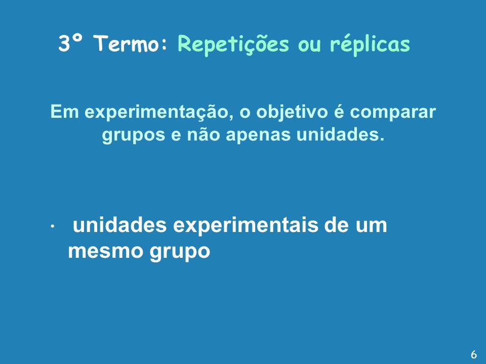 Em experimentação, o objetivo é comparar grupos e não apenas unidades.
