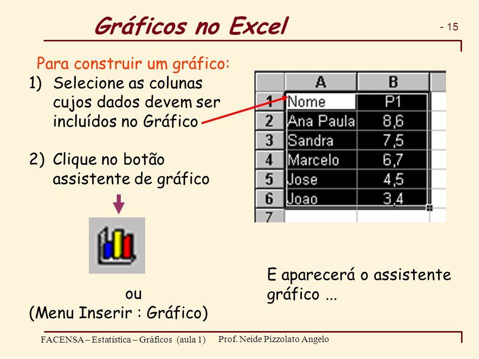 Gráficos no Excel Para construir um gráfico: