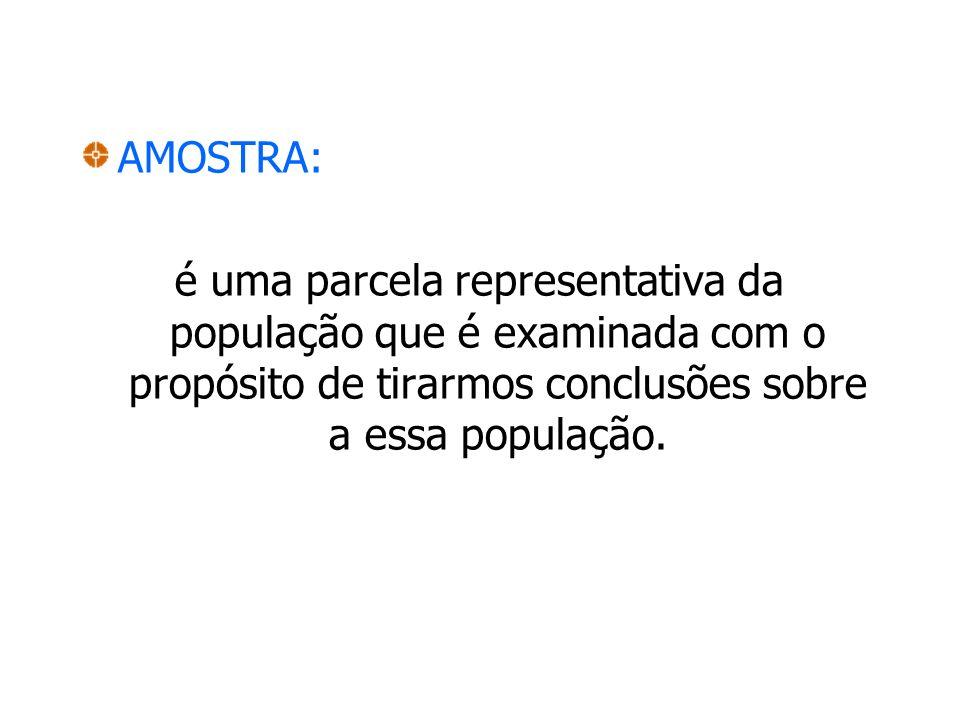 AMOSTRA: é uma parcela representativa da população que é examinada com o propósito de tirarmos conclusões sobre a essa população.