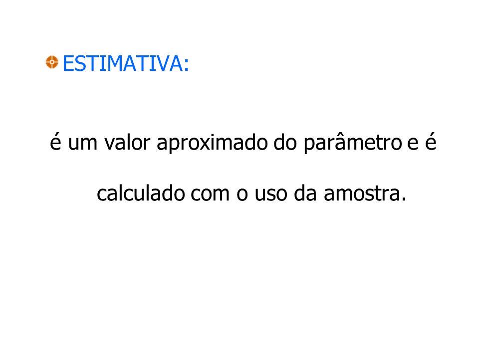 é um valor aproximado do parâmetro e é calculado com o uso da amostra.