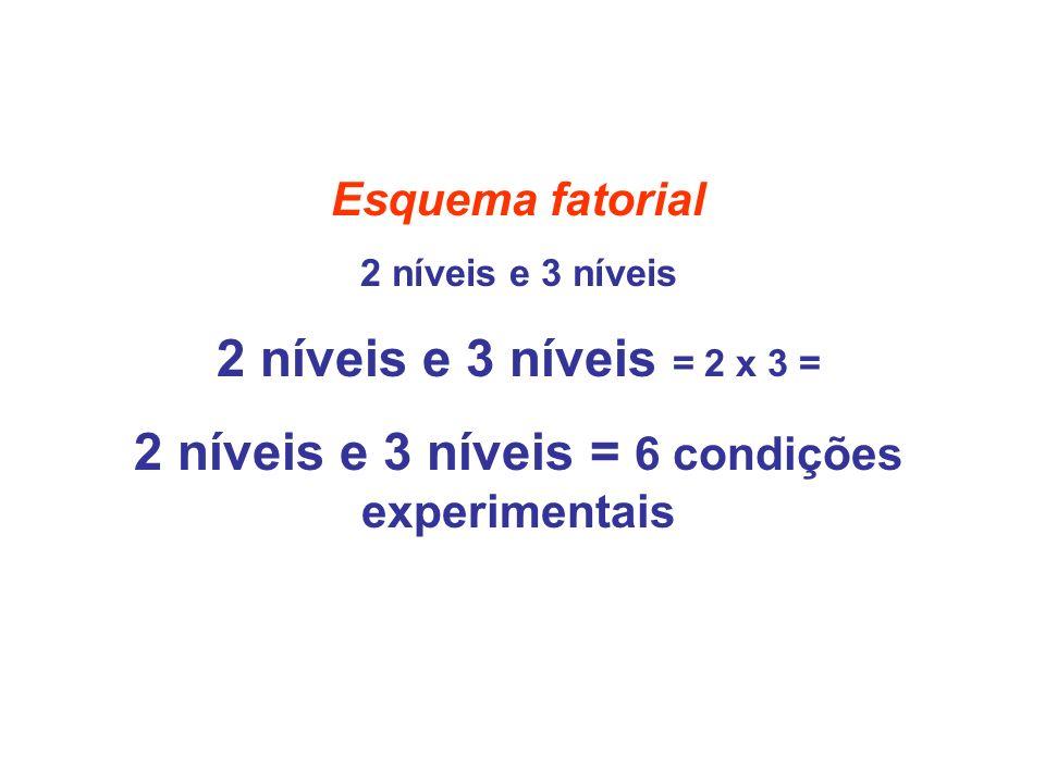 2 níveis e 3 níveis = 6 condições experimentais
