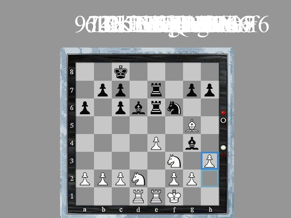 9. exf6 e.p. Nxf66. dxe5 Qxd1+ 7. Kxd1 O-O-O+ 11. Nd2 Rhe8. 14. Kf1 R8e7. 13. Rad1 Rde8. 10. Bg5 Bd6.