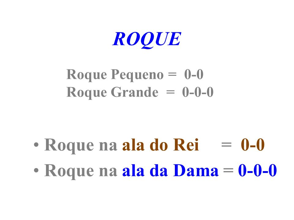ROQUE Roque na ala do Rei = 0-0 Roque na ala da Dama = 0-0-0