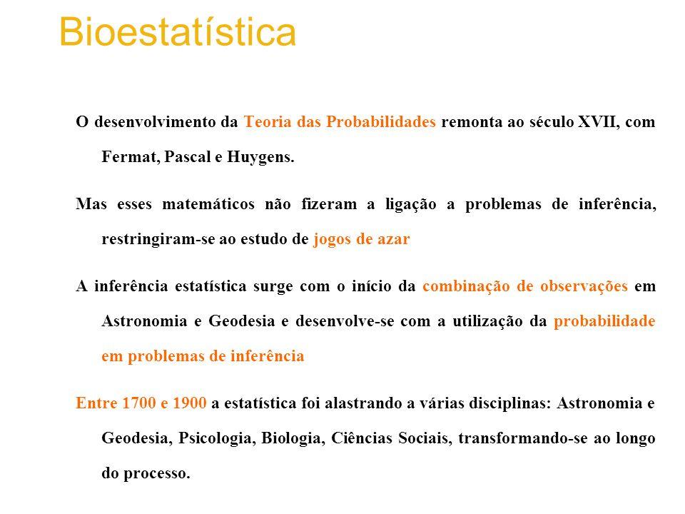 Bioestatística O desenvolvimento da Teoria das Probabilidades remonta ao século XVII, com Fermat, Pascal e Huygens.