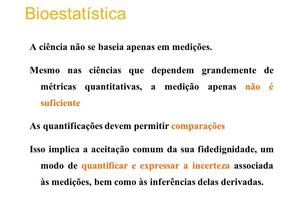 Bioestatística A ciência não se baseia apenas em medições.
