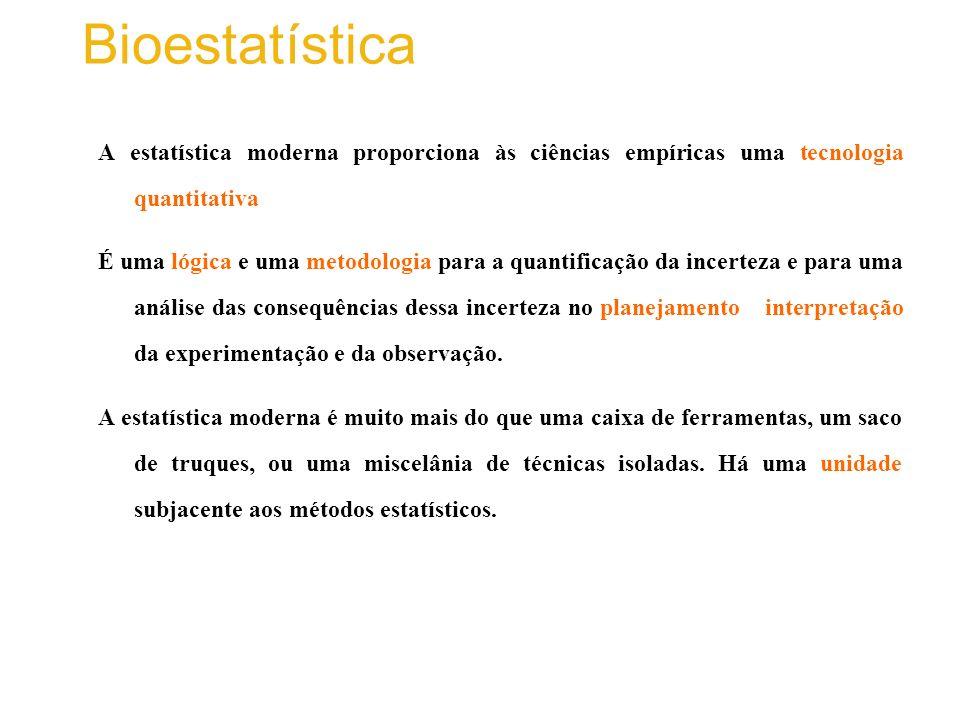Bioestatística A estatística moderna proporciona às ciências empíricas uma tecnologia quantitativa.