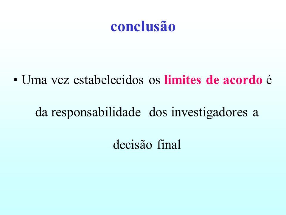 conclusãoUma vez estabelecidos os limites de acordo é da responsabilidade dos investigadores a decisão final.