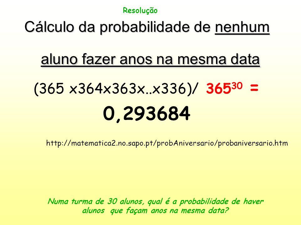 Cálculo da probabilidade de nenhum aluno fazer anos na mesma data