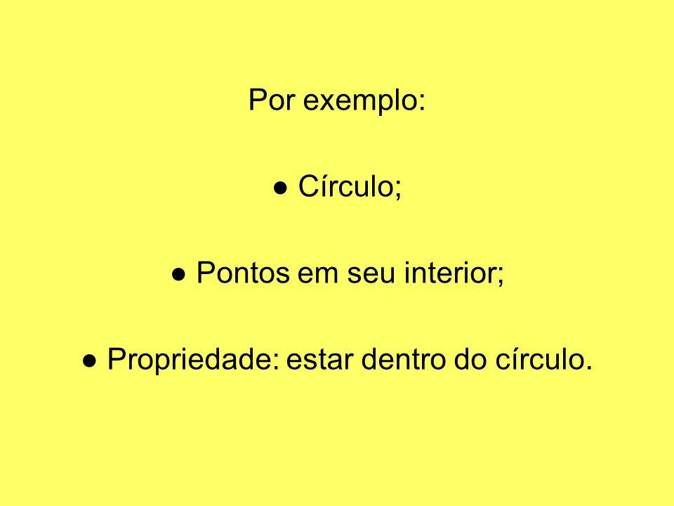 ● Pontos em seu interior; ● Propriedade: estar dentro do círculo.