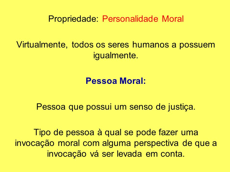 Propriedade: Personalidade Moral