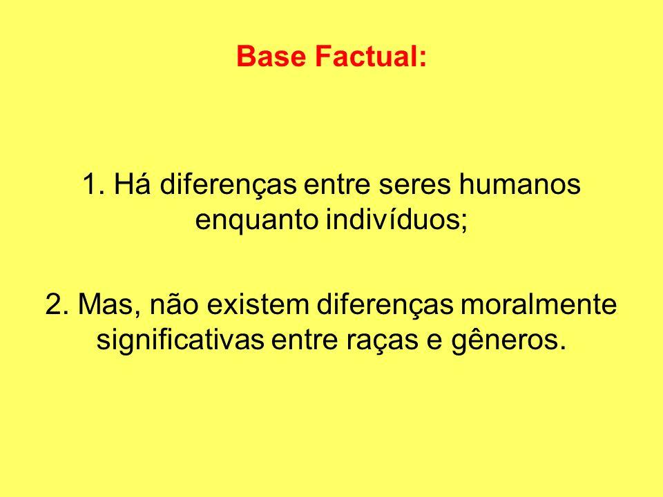 1. Há diferenças entre seres humanos enquanto indivíduos;