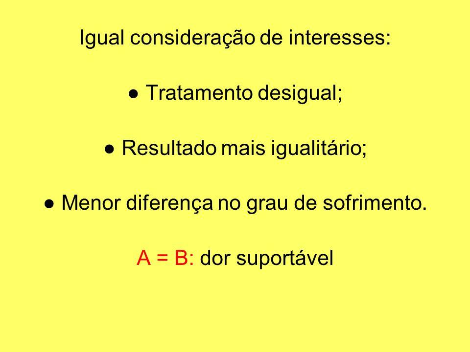 Igual consideração de interesses: ● Tratamento desigual;
