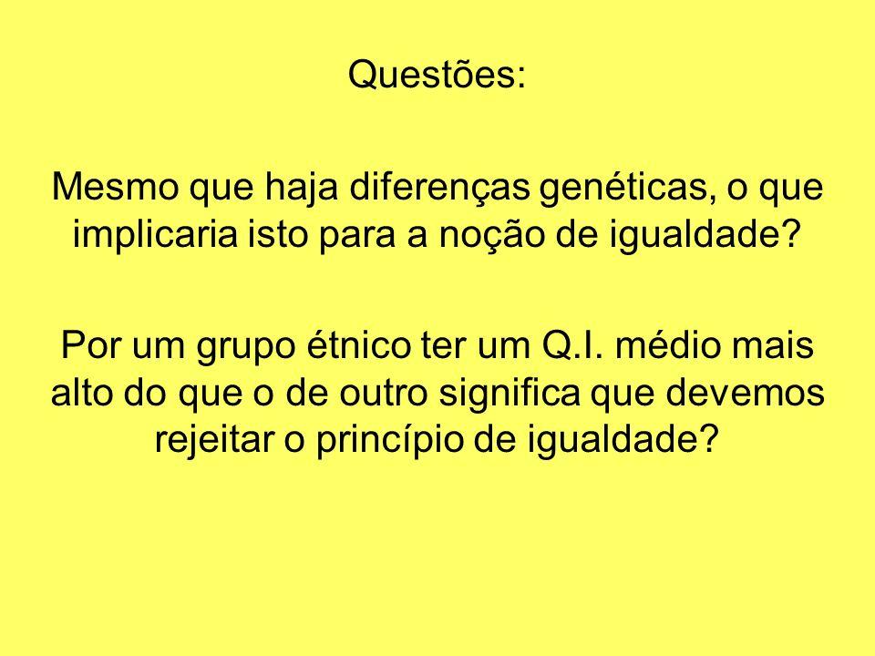 Questões: Mesmo que haja diferenças genéticas, o que implicaria isto para a noção de igualdade