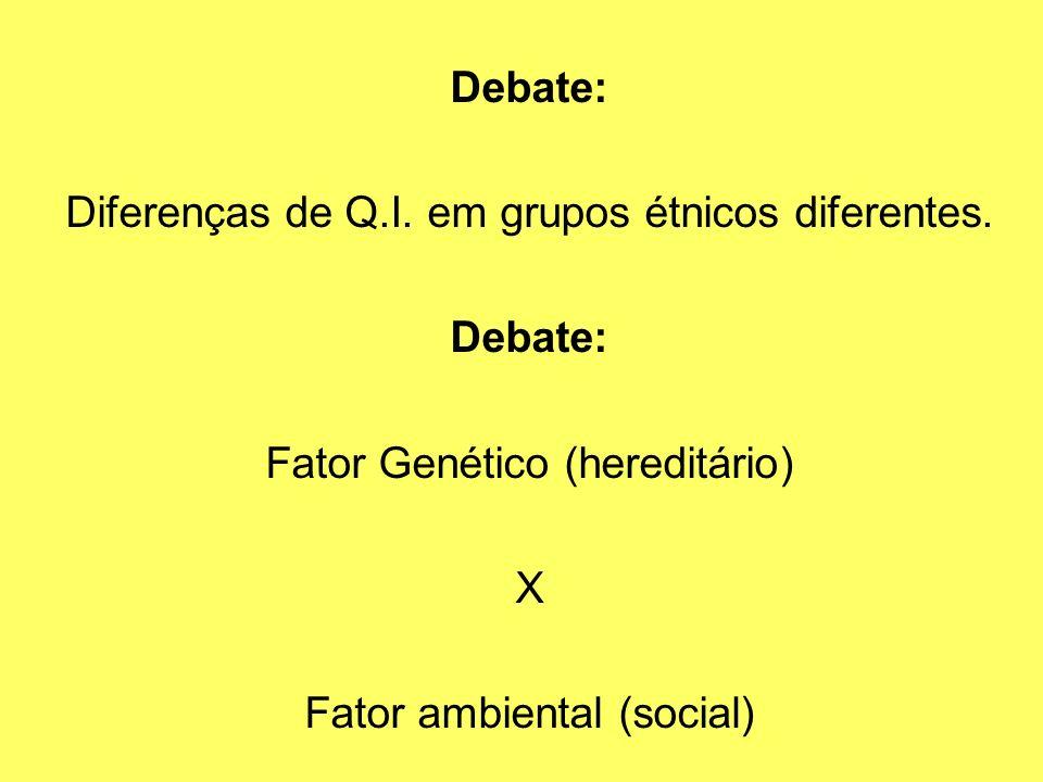 Diferenças de Q.I. em grupos étnicos diferentes.