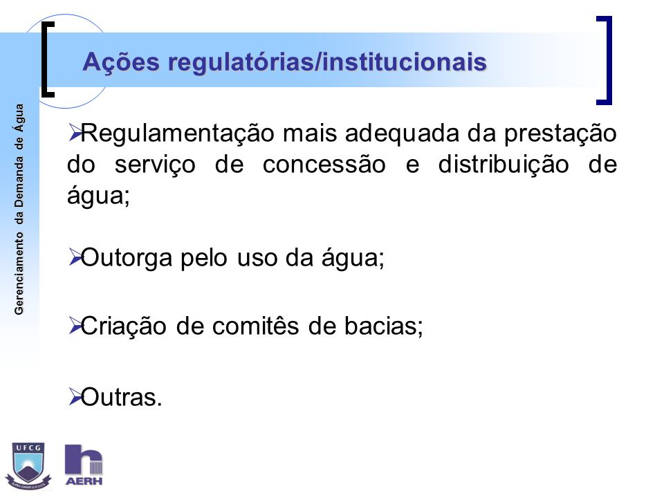 Ações regulatórias/institucionais