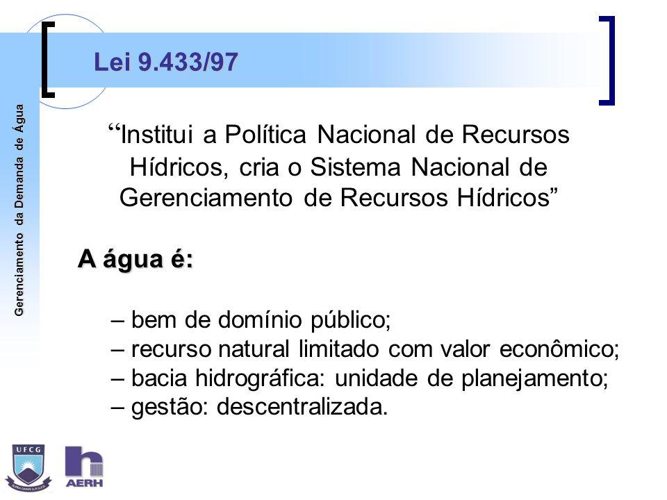Lei 9.433/97 Institui a Política Nacional de Recursos Hídricos, cria o Sistema Nacional de Gerenciamento de Recursos Hídricos
