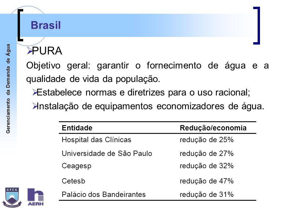 Brasil PURA. Objetivo geral: garantir o fornecimento de água e a qualidade de vida da população.