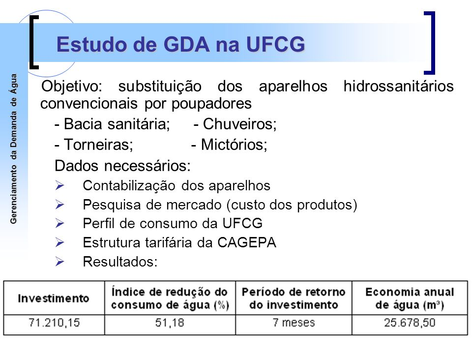 Estudo de GDA na UFCG Objetivo: substituição dos aparelhos hidrossanitários convencionais por poupadores.