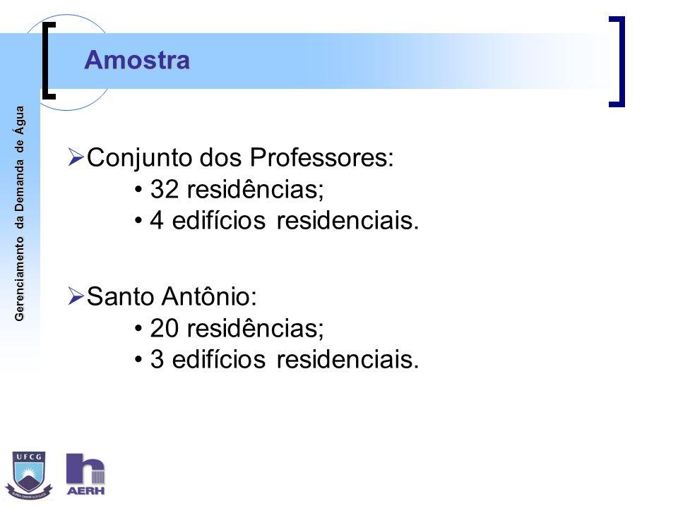 Amostra Conjunto dos Professores: 32 residências; 4 edifícios residenciais. Santo Antônio: 20 residências;