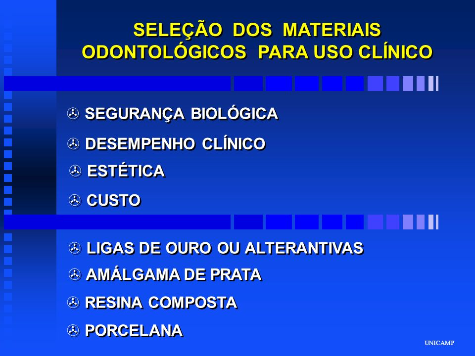 SELEÇÃO DOS MATERIAIS ODONTOLÓGICOS PARA USO CLÍNICO